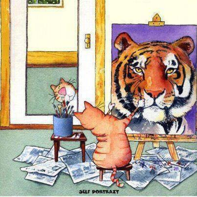 picture of a cat painting his self portrait